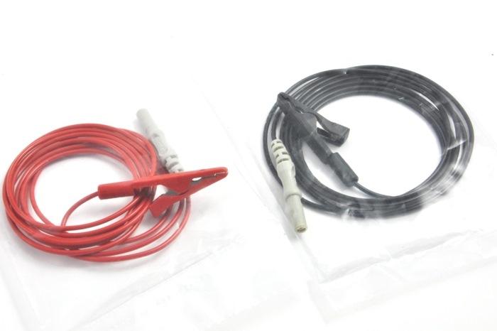 Alligator - Crocodile clip cable 125cm, Touch Proof connector, color Red & Black (1 set - 2 pcs.)