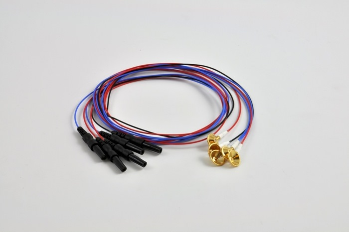 DTL EEG Gold Cup Electrode (10 mm) set, 2 x red, 2 x blue, 1 x black, Touch Proof Connector 1.5mm, 75 cm cable