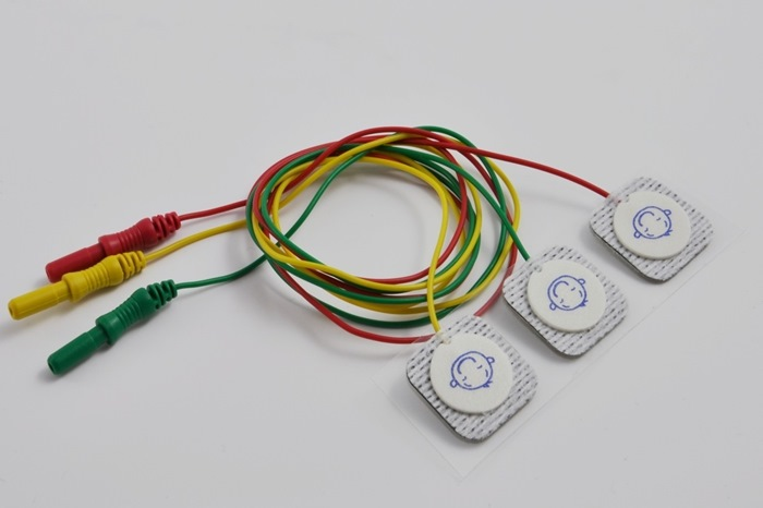 Pro-neo 22mm diameter Disposable surface electrode, 60cm cable, red, green and yellow. Touch Proof connector (3 pcs. pr. bag).