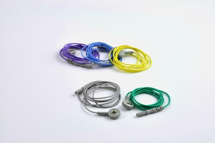 Reusable ECG / EKG Snap Leads, 100cm cable, colour coded leads. (Bag of 5 pcs.)