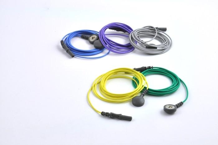 Reusable ECG / EKG Snap Leads, 1.5 m colour coded leads. (Bag of 5 pcs)