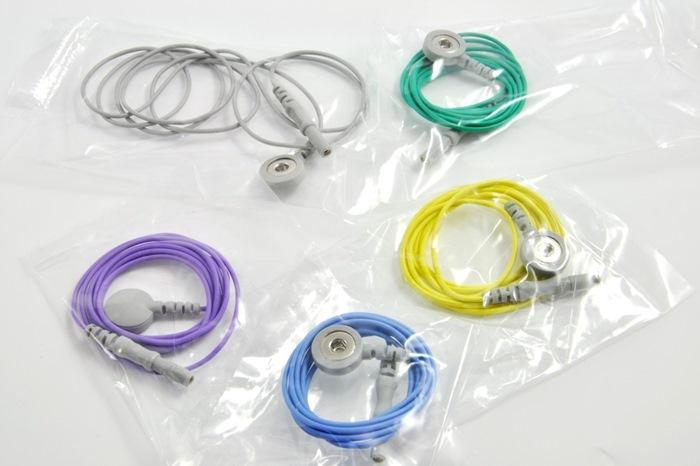 Reusable ECG / EKG Snap Leads, 300cm cable, colour coded leads. (Bag of 5 pcs.).