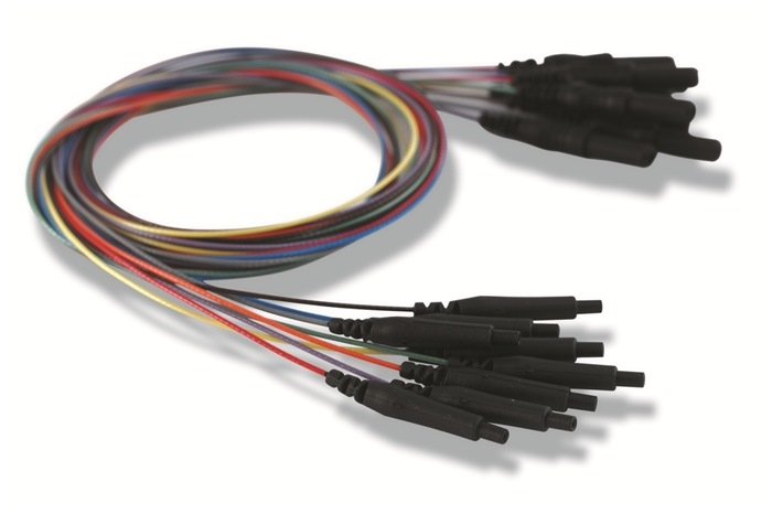 Single Lead, Unshielded electrode Cable w/ 0.7 mm, 80cm cable with Touch Proof connectors (Bag of 8)