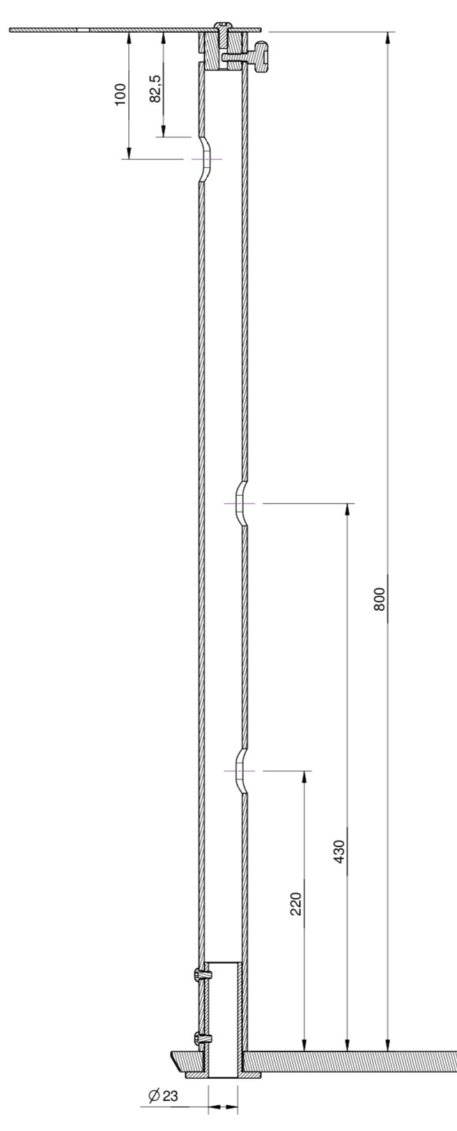 Tuxedo Panel-PC/Monitor & Video camera mount (pole 800mm), for Trolley *